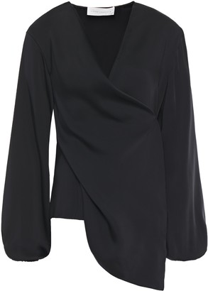 Victoria Beckham Asymmetric Draped Satin Wrap Blouse