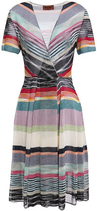 Missoni Wrap-effect Metallic Striped Knitted Dress