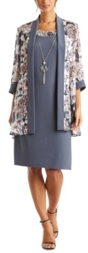 R & M Richards Petite Chiffon Jacket & Dress With Necklace