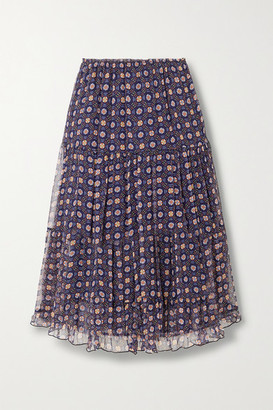 See by Chloe Tiered Printed Silk-chiffon Midi Skirt - Blue