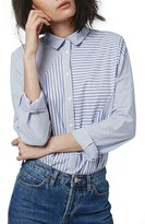 Topshop Women's 'Harper' Mixed Stripe Shirt