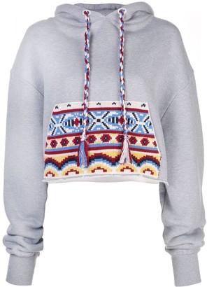 Alanui contrasting pocket cropped hoodie