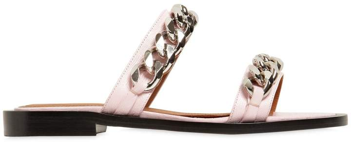 Givenchy 10mm Embossed Leather Sandals W/ Chains