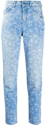 Karl Lagerfeld Paris Orchid-Print High-Rise Slim Jeans
