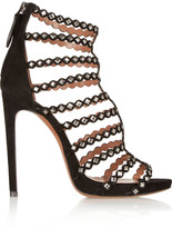 Alaia Studded laser-cut suede sandals
