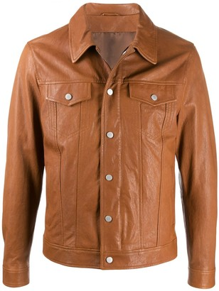 Eleventy Slim-Fit Leather Jacket