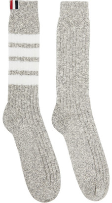 Thom Browne Grey Chunky Rib 4-Bar Mid-Calf Socks
