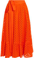 Tory Burch Hermosa Broderie Anglaise Cotton Wrap Skirt - Orange