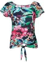 Wallis Navy Floral Print Tie Front Top