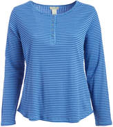 Caribbean Joe Blue Haze Stripe Scoop Neck Henley - Plus