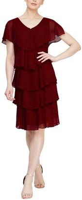 Slny Tiered Petal Chiffon Dress
