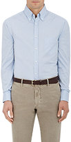 Brunello Cucinelli Men's Striped Cotton Shirt-BLUE