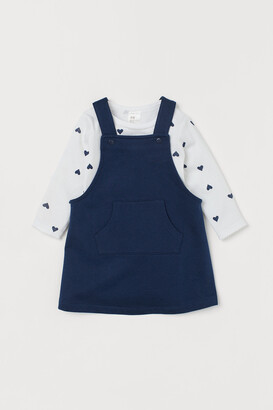 H&M Dungaree dress and bodysuit