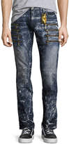 Robin's Jeans Marbled Zipper Moto Skinny Jeans