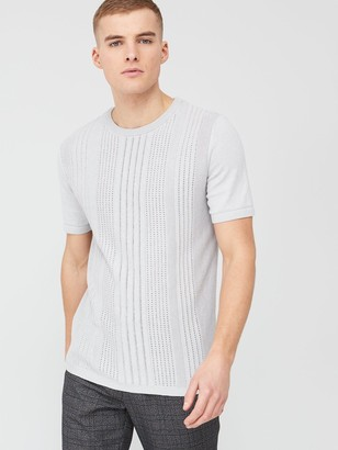 River Island Slim Fit Pointelle Knitted T-Shirt - Grey