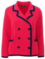 Lands' End Women's Supima Cotton 3/4 Sleeve Jacket Sweater-Deep Sea/Ivory Stripe