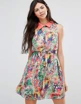 Yumi Digital Parrot Pring Dress