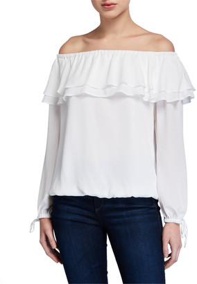 MICHAEL Michael Kors Off-the-Shoulder Long-Sleeve Ruffle Peasant Top