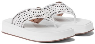 Alaia Laser-cut leather thong sandals
