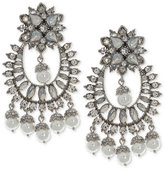 Marchesa Silver-Tone Crystal and Imitation Pearl Chandelier Earrings