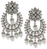 Marchesa Silver-Tone Crystal & Imitation Pearl Chandelier Earrings