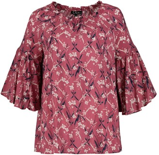 Ulla Popken Floral Print Blouse with Ruffled 3/4 Length Sleeves