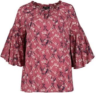 Ulla Popken Floral Print Blouse with Ruffled 3/4 Length Sleeves