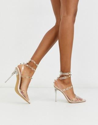 Public Desire Hero clear stiletto studded heeled shoein beige patent