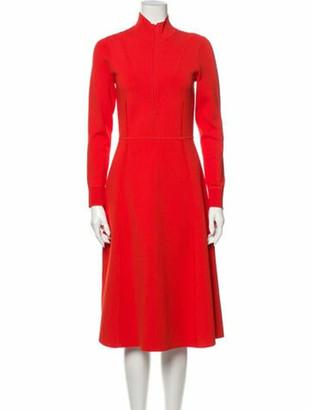 Veronica Beard Mock Neck Midi Length Dress Orange
