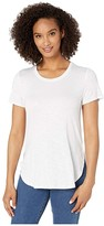 Tribal Short Sleeve Crew Neck Tee w/ Side Slit (White) Women's Clothing