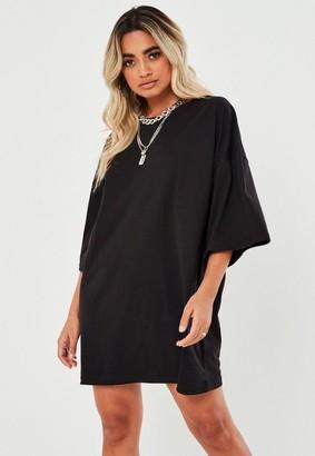Missguided Petite Black Basic Oversized T Shirt Dress