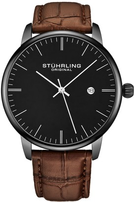Stuhrling Original Men's Rasa Brown Leather Band Watch