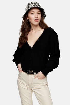 Topshop Womens Black Covered Button Cardigan - Black