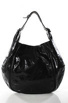 Givenchy Black Leather Gunmetal Tone Hardware Stitch Trim Hobo Handbag