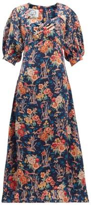 Evi Grintela Vanessa Floral-print Silk-satin Dress - Womens - Navy Print