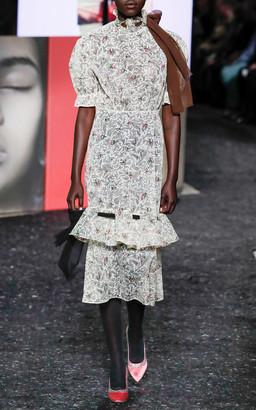 Miu Miu Floral Short Sleeve Midi Dress