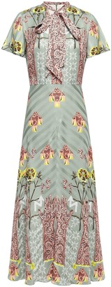 Temperley London Flux Pussy-bow Printed Satin-jacquard Midi Dress