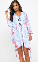 PrettyLittleThing Bride Grey Floral Dressing Gown