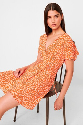 French Connection Etta Kiss Print Neon Short Sleeve Dress