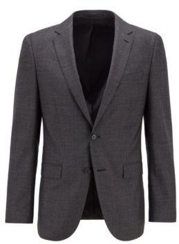 HUGO BOSS Slim Fit Jacket In Melange Virgin Wool - Light Grey