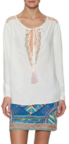 Pia Pauro Embroidered Peasant Top with Tassle