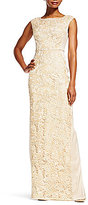 Adrianna Papell Round Neck Cap Sleeve Lace Insert Column Gown