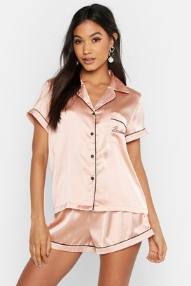 boohoo Bridesmaid Embroidered Satin Short Set