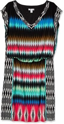 London Times Women's V Neck Blouson Printed Jersey Sleeveless Dress