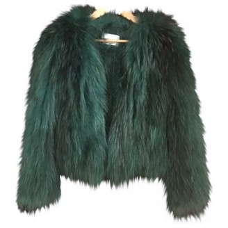 Saks Potts Green Raccoon Leather Jacket for Women