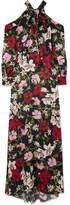 Erdem Anora Cold-shoulder Floral-print Silk-satin Gown - Black