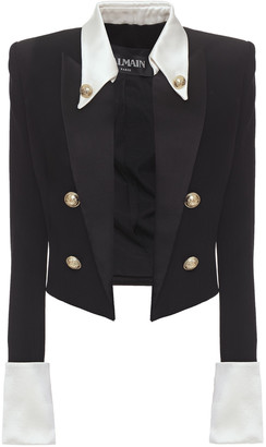Balmain Cropped Button-embellished Satin-trimmed Crepe Blazer