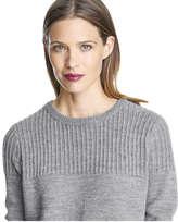 Joe Fresh Women's Sparkle Rib Crew Neck Sweater, Charcoal Mix (Size M)