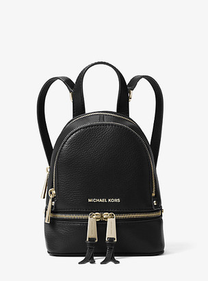 MICHAEL Michael Kors MK Rhea Mini Leather Backpack - Black - Michael Kors