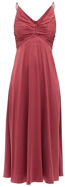 Zimmermann Ruched Silk-blend Satin Midi Dress - Burgundy